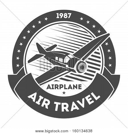 Airplane vintage isolated label vector illustration. Wind riders show and best pilot symbols. Airplane academy and flying club sign. Air travel and plane tours logo. Airplane shool logo template. Retro airplane badge. Pilot shcool logo.