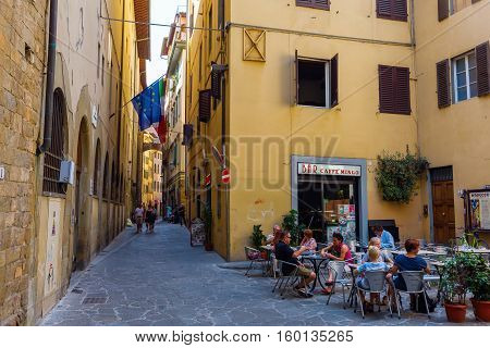 Street Scene In The Medieval Old Town Of Florence, Italy