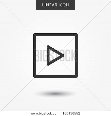 Play video icon vector illustration. Isolated video player symbol. Online video streaming line concept. Video frame graphic design. Video app pictogram on grey background.