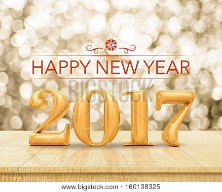 Red Color Happy New Year 2017 (3D Rendering) On Wood Table Top With Blur Abstract Bokeh Background,h