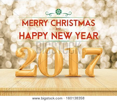 Golden Color 2017 Merry Christmas And Happynew Year (3D Rendering) On Wood Table Top With Blur Abstr
