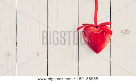 Decorative Red Hearts Hanging On Vintage Wooden Background With Space. Valentine Background.