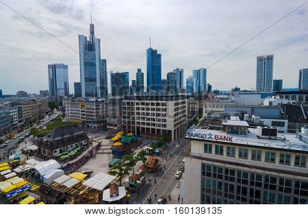 Frankfurt Panoramic View With Hauptwache And Skyscrapers