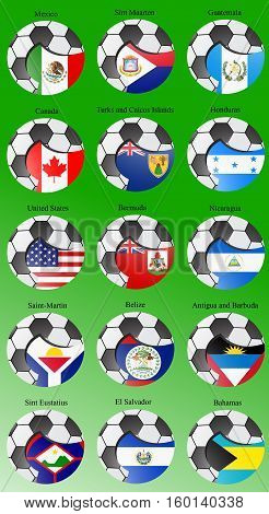Set Of Icons. North And Central America's Flags With Soccer Ball. Vector. 3D.
