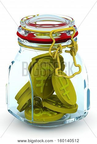 Piggy bank with Russian currency coins. Glass Jar for canning with a coins of the Russian currency on a white surface. Financial concept. Isolated. 3D Illustration