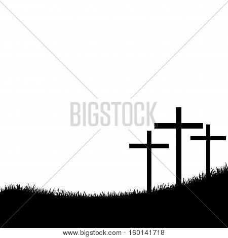Calvary. Single flat icon on white background. Vector illustration. Three crosses on a white background