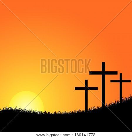 Crosses silhouette in the top of a mountain at sunset