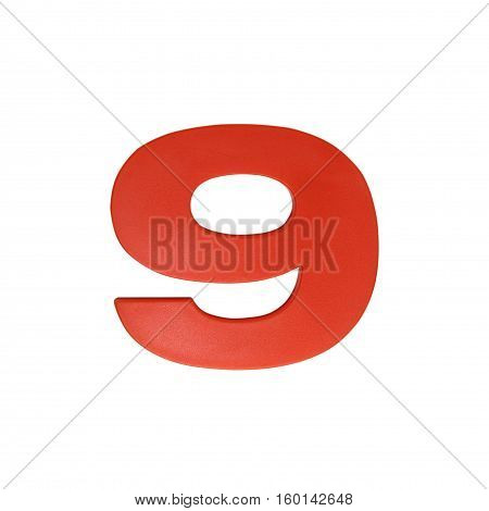 Number nine made of plastic isolated over the white background.