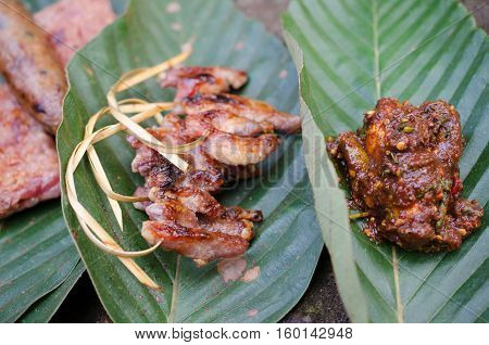 Pork sour toast fish leaves stone food holiday casual happy jungle amidst beautiful nature.