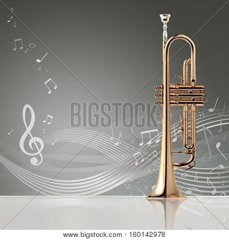 Trumpet Banner, 3D Illustration