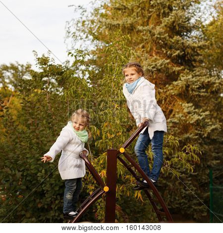 Cute little sisters swarms up the ladder to the playground in autumn park. Family time. Sport games.