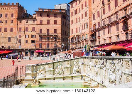 Piazza Del Campo With Fonte Gaia In Siena, Italy