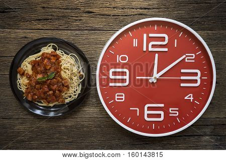 Meal time with alarm clock lunch time