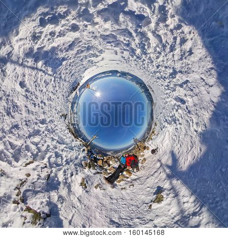 360 Spherical Panorama Couple In Snowy Mountains