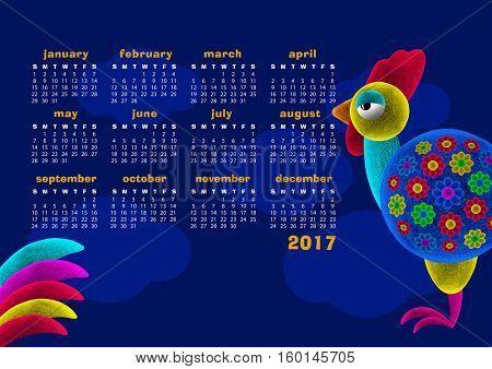Colorful rooster. Bird. 3d Illustration. Calendar 2017.