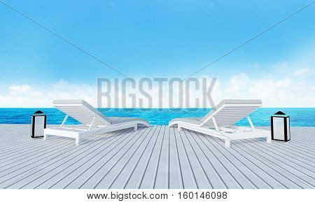Beach Lounge With Sundeck On Sea View And Blue Sky Background-3D Rendering