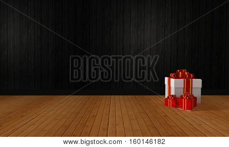 Colorful gift boxes for celebration and festival on wooden and copyspace for your text.-3D rendering