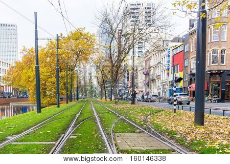 ROTTERDAM, Netherlands - November 12, 2016 : Street view of Rotterdam City Netherlands. back to 1270 when a dam was constructed in the Rotte river by people settled around it for safety.