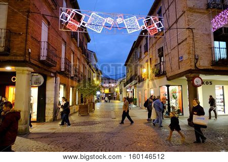 Alcala De Henares, Madrid, Spain- December 5, 2016: The Mayor Street In Christmas