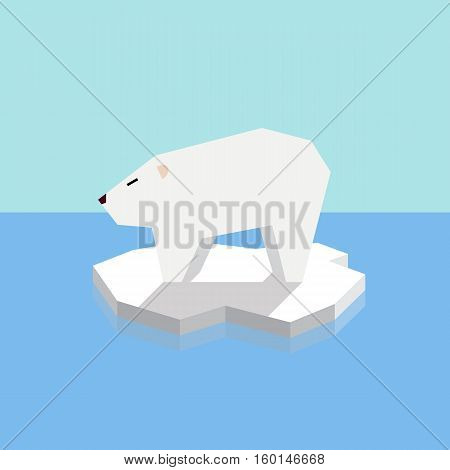 Polar bear on an ice floe. vector illustration