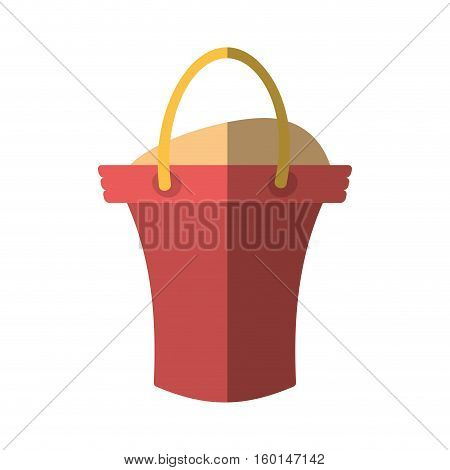 cartoon sand pink bucket beach shadow vector illustration eps 10