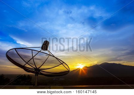satellite dish and morning light sky for telecom and broadcasting backgroundbackdrop