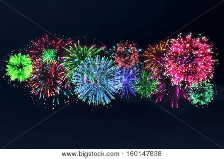 Colorful Firework On Midnight Blue Sky