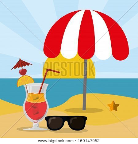 beach sea sand glasses and cocktail summer vector illustration eps 10