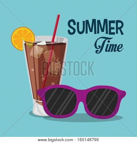 summer time sunglasses cold soda with straw sunglasses cold soda with straw vector illustration eps 10