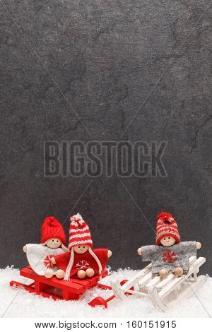 Christmas greeting card. Noel festive background. New year symbol. Children playing theme. Festive background with copy space.