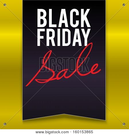 Black Friday sale large black banner, pennant, flag on a bright, yellow background with twisted at the corners with screws