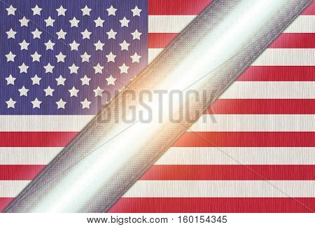 America or American flag on fabric with light middle zipper for connect or separate The light of the political conflict of America or USA has divided into two factions event
