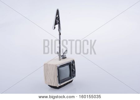 Retro Syled Tiny Television Model On White Background