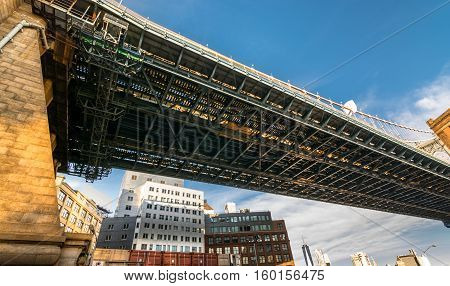 Looking up under the Manhattan Bridge in Brooklyn New York. The area known as Dumbo