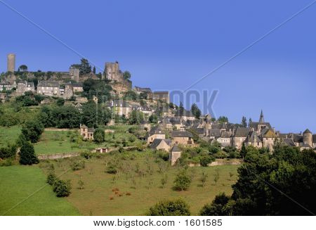 hilltop village turenne correze limousin france europe poster