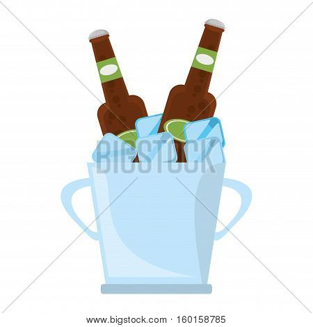 bucket two beers cool ice design vector illustration eps 10