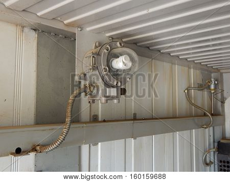 Explosion-proof lighting in the rooms, industrial. Electrical.