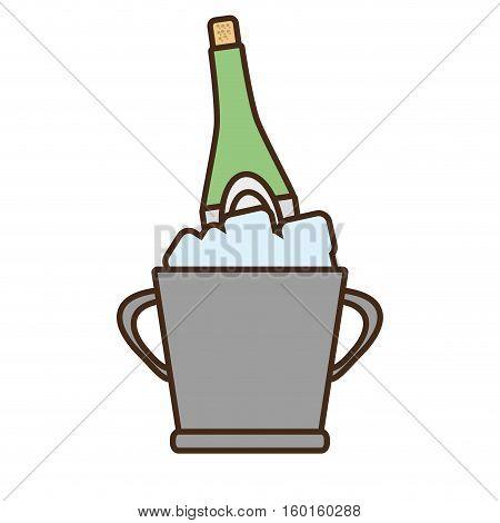 cartoon champagne bucket bottle ice design vector illustration eps 10