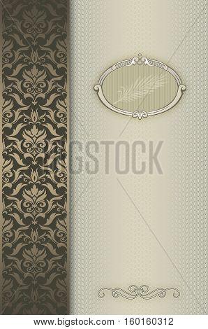 Vintage gold background with decorative border elegant frame and ornament.