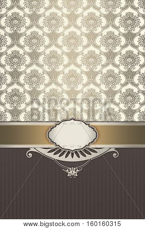 Vintage ornate gold background with decorative border frame and old-fashioned patterns.