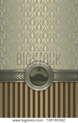 Retro background with decorative border elegant frame and old-fashioned patterns. brown tones