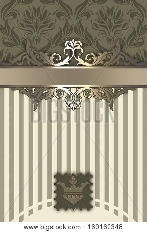 Vintage background with decorative border and old-fashioned floral patterns. Book cover or vintage invitation card design. Beige tones