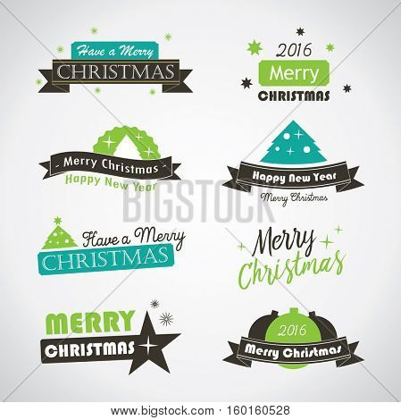 Christmas labels and banners - vintage vector emblems