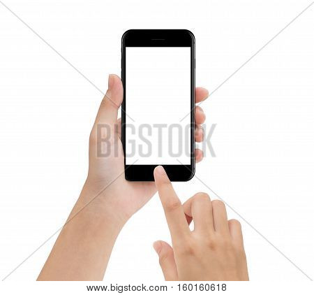 close-up hand using phone mobile isolated on white mock up smartphone blank screen easy adjustment with clipping path