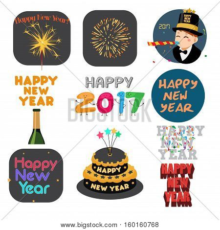 A vector illustration of Happy New Year Signs and Icons