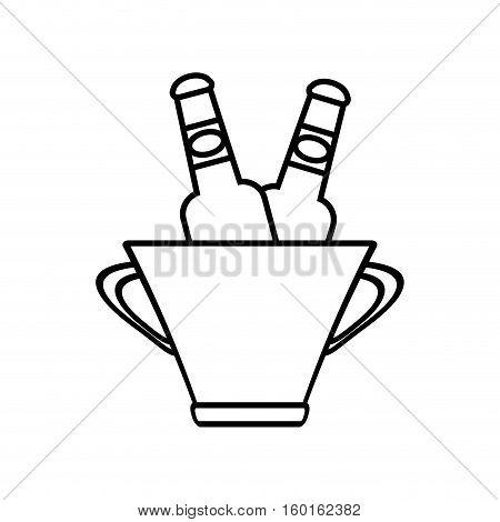 bucket beers cool ice design outline vector illustration eps 10