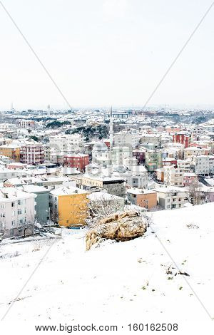 A winter view from the city of Istanbul with houses covered with white snow