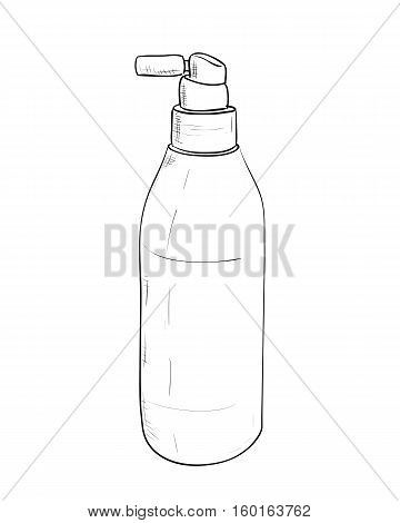 Vector sketch bottles of hair spray. Hand draw illustration.