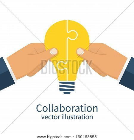 Collaboration concept. Completing business idea. Cooperation, teamwork. Successful solution puzzle. Symbol of partnership. Vector, flat design. Businessmen hold puzzle in hand connected in lightbulb