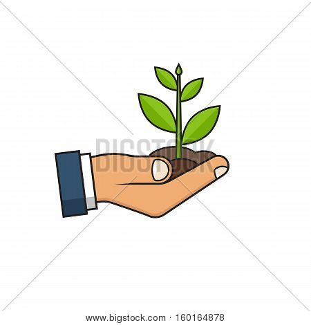 Planting sapling icon. Male farmer, gardener holding a green sprout in hand. Care and environmental development. Ecology concept. Vector illustration minimal flat design. Isolated on white background.